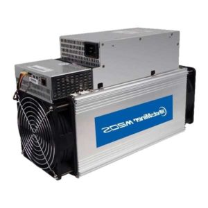 Model Whatsminer M20S from MicroBT mining SHA-256 algorithm with a maximum hashrate of 70Th/s for a power consumption of 3360W.